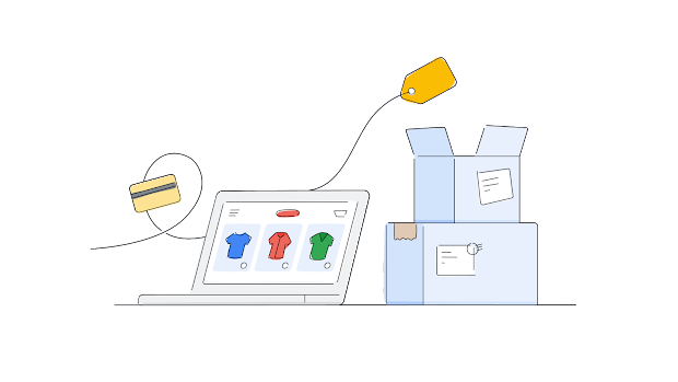 Online Shopping Journey showing products on computer screen, credit card and delivery boxes all connected by a thread