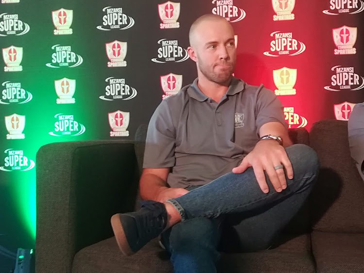 AB de Villiers speaks during the media launch of his new T20 side the Tshwane Spartans at SuperSport Park in Centurion on Thursday October 25, 2018.