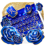 Gold Blue Rose Keyboard