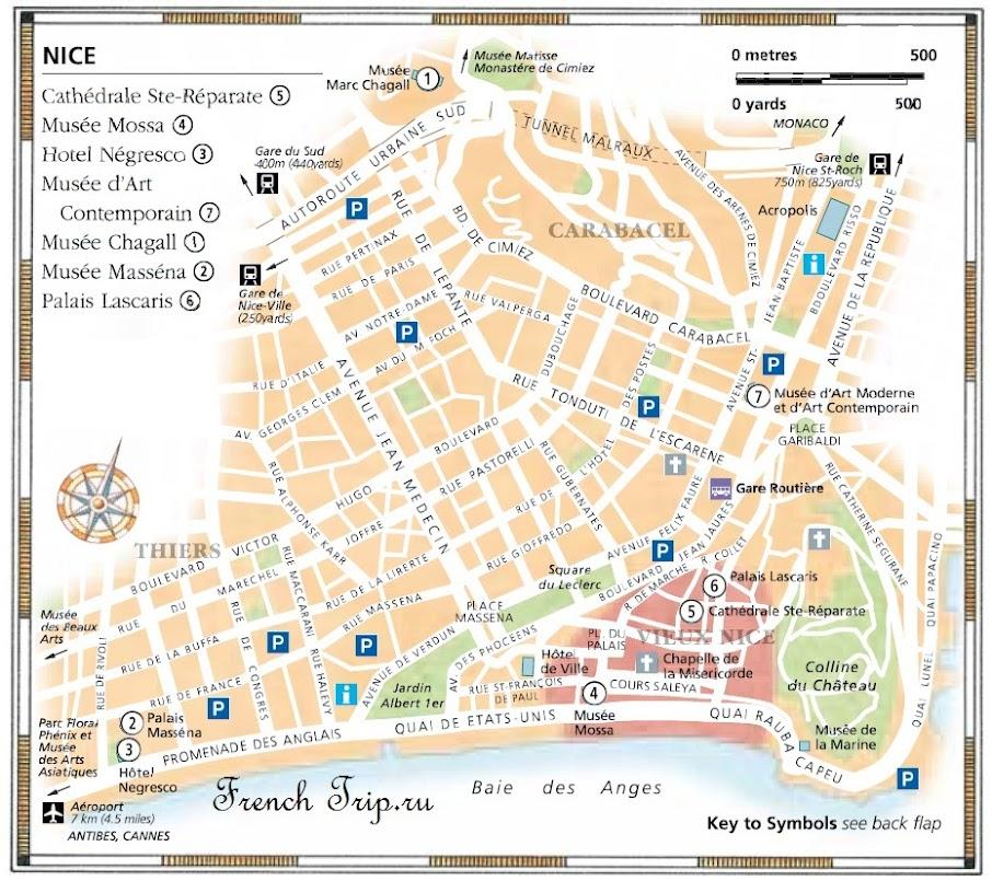 Туристическая карта Ниццы, достопримечательности Ниццы на карте, путеводитель по Ницце