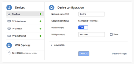 Change Google Fiber Wi-Fi network name (SSID) and password.