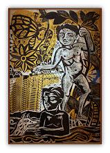 Photo: Antonio Berni Juanito bañándose 1961. 160 x 105,5 cm. Xilocollage y colores con plantilla. Colección Museo Castagnino+Macro, Rosario, Argentina. Expo: Antonio Berni. Juanito y Ramona (MALBA 2014-2015)