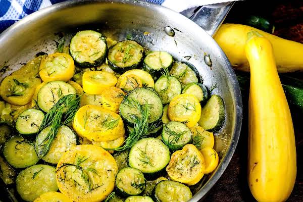 Sauteed Squash And Zucchini Ready To Be Served.