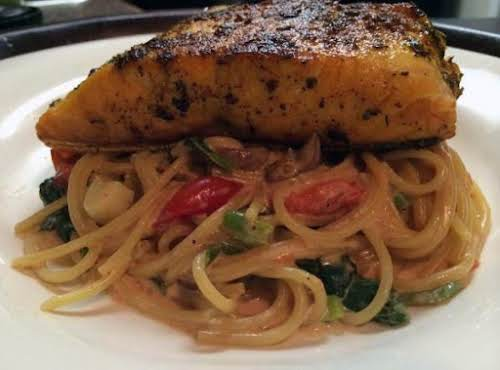 "Herb Crusted Salmon with Pasta Florentine ""A great date night recipe!"" -..."