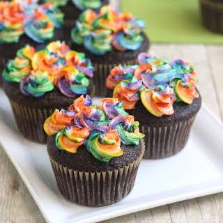 Chocolate Cupcakes with Rainbow Buttercream.