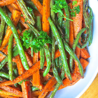 Za'atar Roasted Carrots and Green Beans.