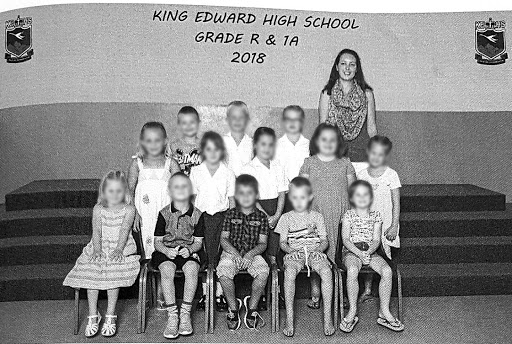 A yearbook photo of children in the first year of school at King Edward High in the Eastern Cape. The class is made up of only white children