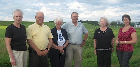 Photo: Verigin, Sask. August 2/10. L to R: Eileen and Fred Konkin, Sonia & Keith Tarasoff,  Mae Popoff, Irina Anosova.  Mae Popoff Photo