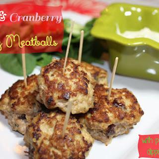 Pesto & Cranberry Turkey Meatballs with Pesto Yogurt Dipping Sauce