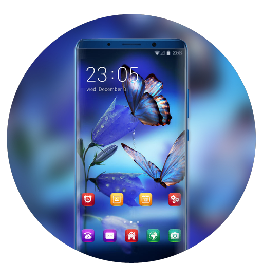 Theme for fluorescent butterfly wallpaper icon