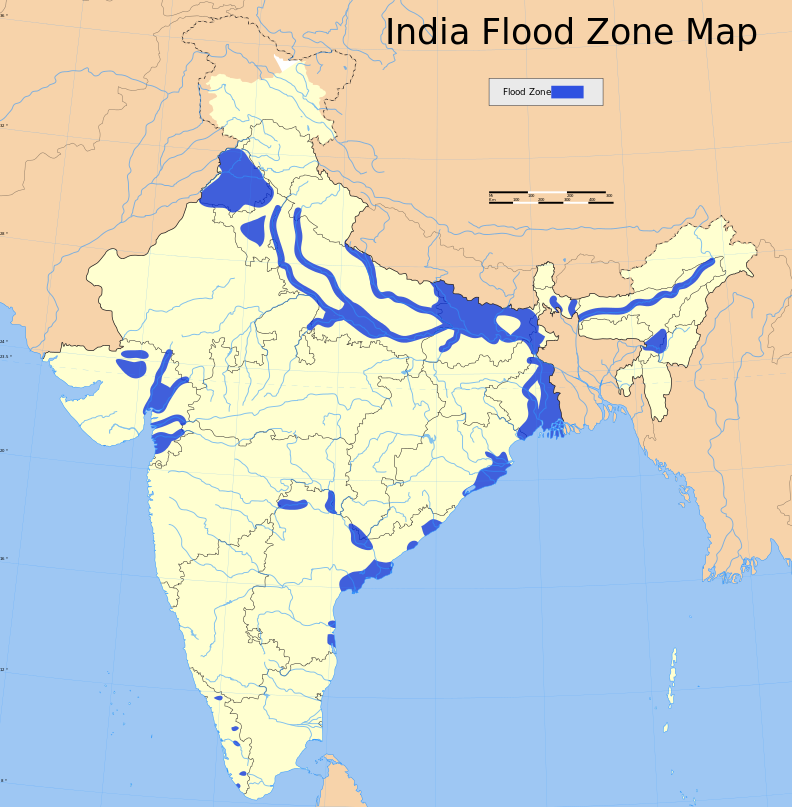 Flood-Prone Areas in India Map