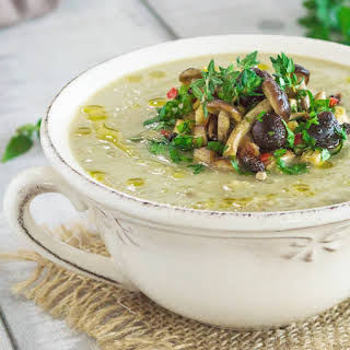 White Sweet Potato And Mushroom Soup.