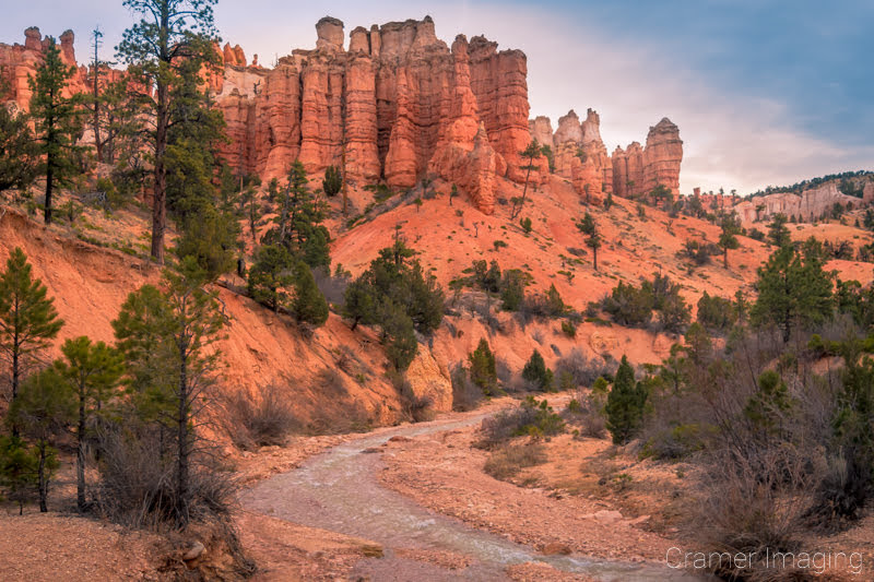 Cramer Imaging's fine art landscape photograph of red hoodoos and a stream at Bryce Canyon National Park, Utah