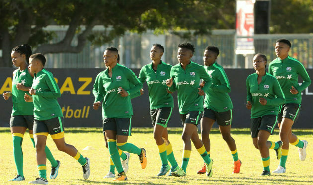 Banyana Banyana's players warm up at NMU's Second Avenue campus