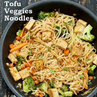 Tofu and Brown Rice Noodles in Hoisin Sauce Recipe