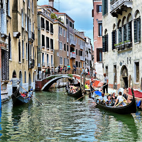 A busy Canal in Venice by Francis Xavier Camilleri - City,  Street & Park  Historic Districts
