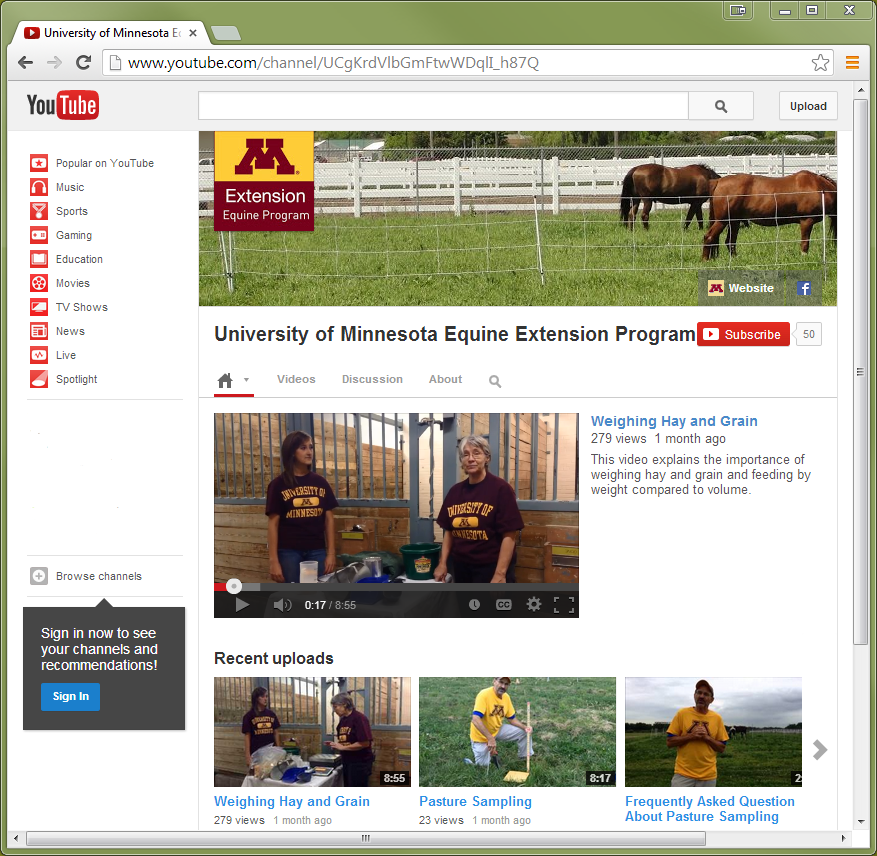 Image of U of M Equine Extension Program's YouTube page.