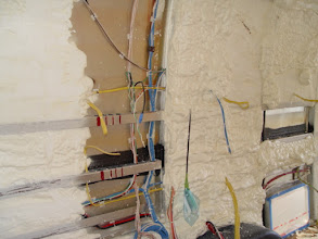 Photo: exposed wire tales through the foam