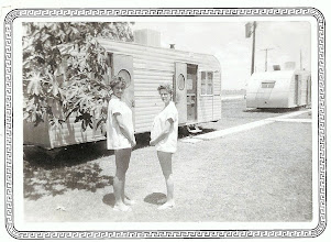 """Photo: Two happy wifes in the """"family way"""" at the Chase Field trailer enlisted housing. circa '55-58"""