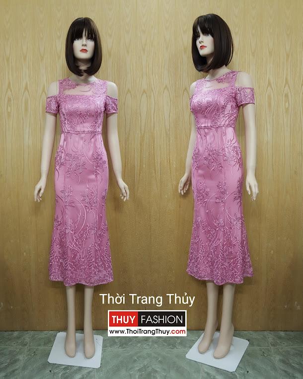 Váy ren dự tiệc đuôi cá hở vai hồng thạch anh V513