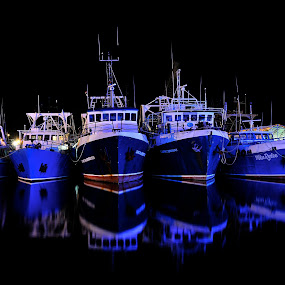 Fishing Fleet by William Greenfield - Transportation Boats ( water, reflection, fremantle, harbor, blue, ship, night, fishing, boat, fishing boat, light )