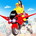 Superhero Flying Bike Taxi Driving Simulator Games icon