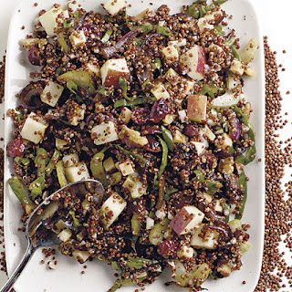 Quinoa Salad with Apples, Walnuts, Dried Cranberries, and Gouda.