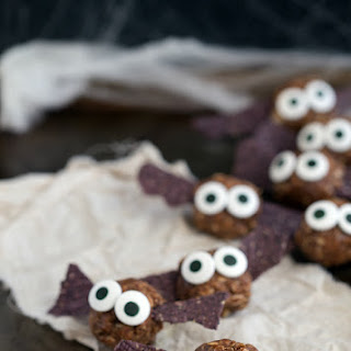 "{Healthy} Halloween Bat Energy Bites + ""Spiders"" on a log"