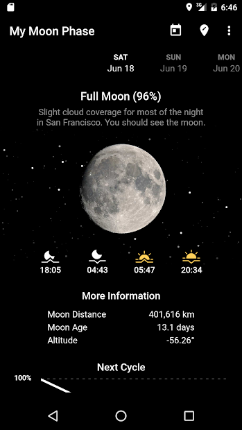 My Moon Phase - Lunar Calendar & Full Moon Phases Android App Screenshot