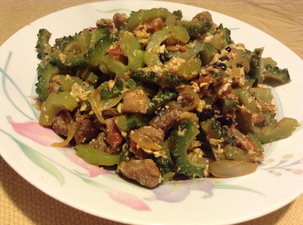 When the ground meat is cook, add the thinly sliced Ampalaya/Bitter Gourd/Bitter Melon. Blend...
