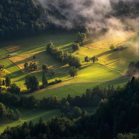 Village and countryside on a misty morning by Aleš Krivec - Landscapes Prairies, Meadows & Fields ( nature, village, babji, slovenia, background, bled, good, scenery, sunrise, morning )