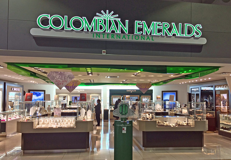 Columbian Emerald shop in St. Maarten, where jewelry is one of the top-selling duty-free items.