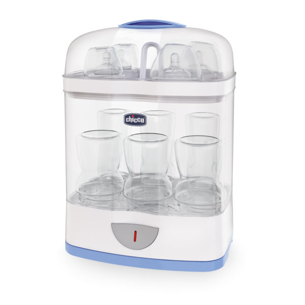 The Chicco SterilNatural baby bottle steriliser.