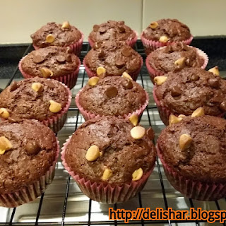 Double Chocolate Buttermilk Muffins with Peanut Butter Chips