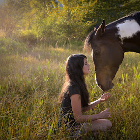 Best Friends by William Tipper - People Portraits of Women ( friends, girl, grass, horse )