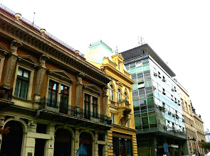 Photo: Irony in buildings everywhere - Victorian buildings next to horribly boxy and rundown communist era buildings.