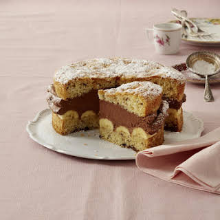 Tipsy Banana Cake With Chocolate Filling.