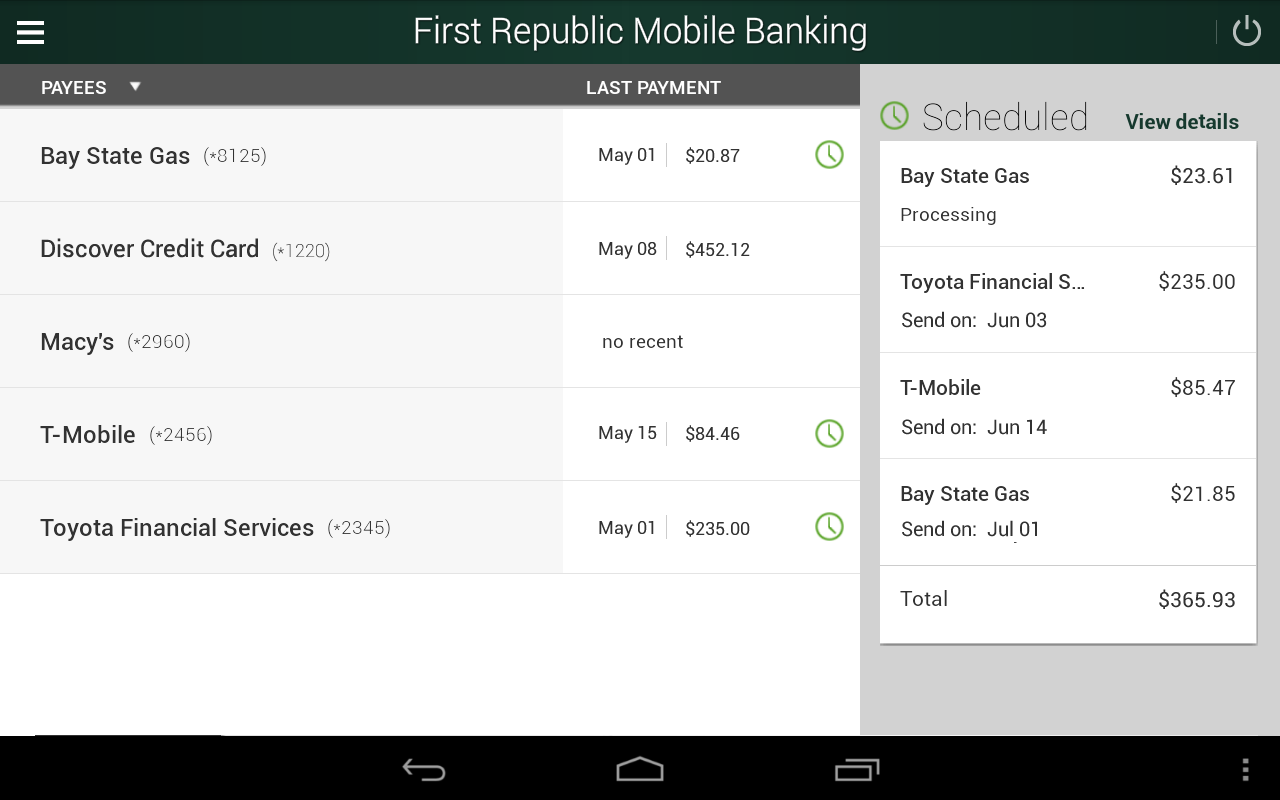 First Republic Mobile Banking- screenshot