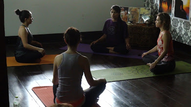 Photo: Chanting of Yoga Sutras of Patanjali with Jeenal Mehta in the evening.