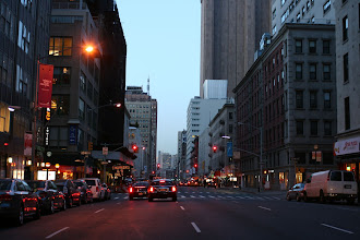 Photo: Looking up Church Street in lower Manhattan after sunset.