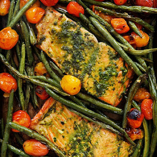 Herb Butter Salmon with Charred Tomatoes and Green Beans