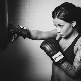Boxing girl by Simo Järvinen - Black & White Sports ( boxer, sports, boxing, monochrome, black and white, girl )