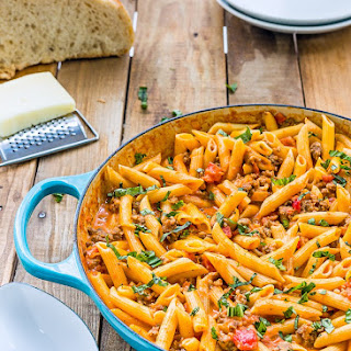 Penne with Sausage and Spicy Cream Tomato Sauce.