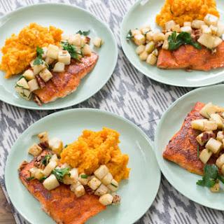 BBQ Salmon & Mashed Sweet Potatoes with Celeriac-Apple Sauté
