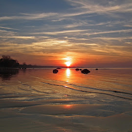 Placid sunset on Lake Huron by Bill Diller - Landscapes Waterscapes ( michigan, great lakes, sunset, lake huron, autumn )