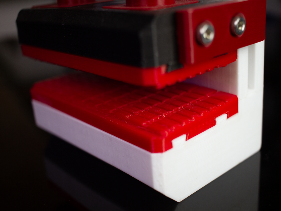 Fillamentum Flexfill being used as soft jaws for a 3D printed bench vise,