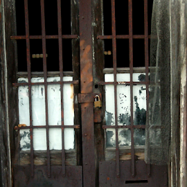 Locked by Edward Gold - Digital Art Places ( locked door, rusted door, bared door, dark brown, abandoned property, lock, old door,  )