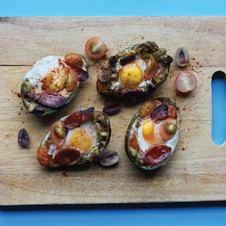 Baked Eggs with Gubbeen Chorizo in Avocado Shells