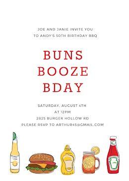 Buns & Booze Birthday - Card item