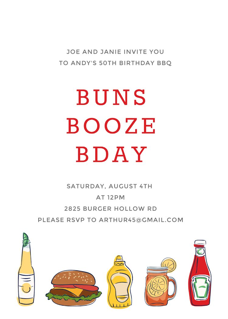 Buns & Booze Birthday - Card Template